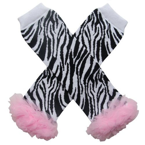 Chiffon Ruffle Halloween Costume Spooky Styles Leg Warmers - One Size - Baby, Toddler, Girl (Chiffon Zebra Pink) -
