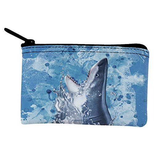 Hungry Great White Shark Breaching Coin Purse Multi Standard One Size