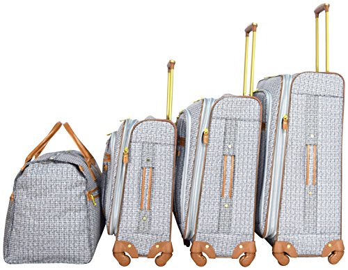 Nicole Miller New York Taylor Set of 4: Box Bag, 20'', 24'', 28'' Expandable Spinner Luggages (Black/White Plaid) by Nicole Miller (Image #1)