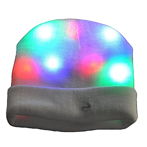 DA-XIN-Unisex-7-LED-Knitted-White-Flashing-Light-Up-Beanie-Hatcap-for-partyCamping-Jogging-WalkingbicyclingChristmas