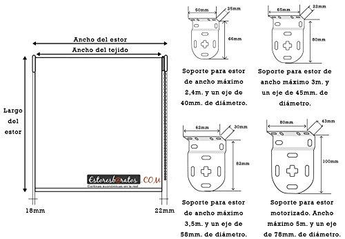 transl/úcido efecto tela desde 40 hasta 300cm de ancho permite paso de luz, no permite ver el exterior//interior. El color no es liso simula el efecto tela Color amarillo Medida 40cm x 160cm para ventanas y puertas Estor enrollable PREMIUM