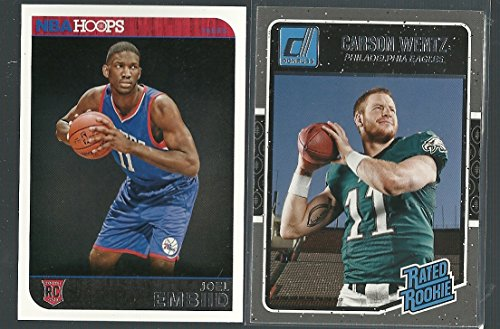 (2016 Panini Donruss Carson Wentz Rated Rookie Card & 2014/15 Joel Embiid Hoops Rookie Card Philadelphia Eagles and 76ers Gift Pack)