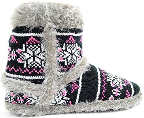 Damenschuhe/Slipper/Boots im Strickdesign mit Besatz aus Webpelz Schwarz