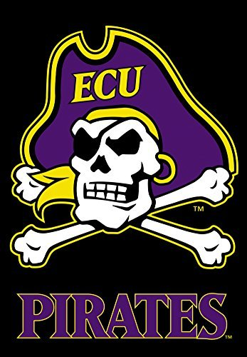 NCAA East Carolina Pirates 2-Sided 28-by-40 inch House Banner ECU with Black Background with  Pole Sleeve -