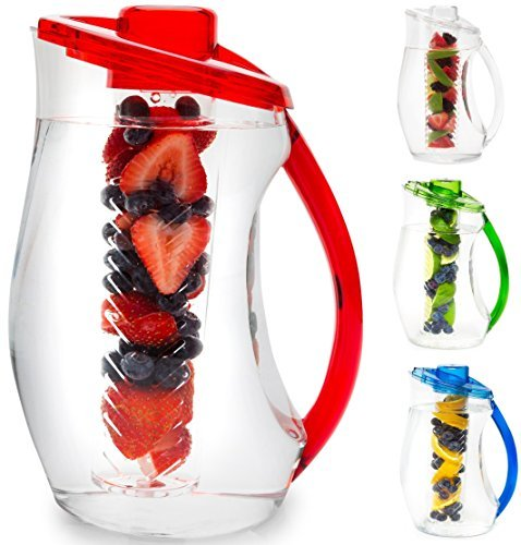 ( Water Infuser Pitcher & Gourmet Recipe eBook (Emailed) | BPA Free Fruit Infusion Pitcher with Glass Like Appearance and Largest 3+ Liter Capacity for Amazing Spa Water (Red))