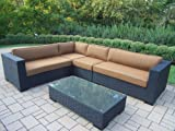 Oakland Living Hampton 5-Piece Resin Wicker Sectional with Sunbrella Cushions