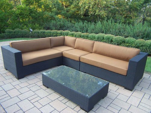 Oakland Living Hampton 5-Piece Resin Wicker Sectional with Sunbrella Cushions