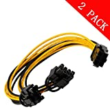 6pin to 2 X PCIe 8 (6+2) pin & 6pin Motherboard Graphics Video Card PCI-e Express GPU VGA Y-splitter Hub Power Cable (2 pack)