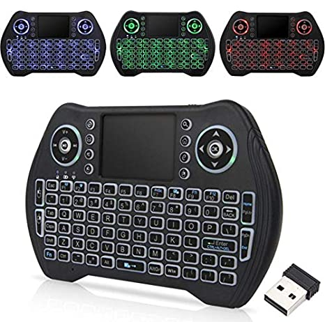 dingsheng Remote 3 Color Fondo trotten caballo lámpara Mini Wireless Keyboard, i8 Plus 2,4 GHz Portable Wireless Keyboard con touchpad Ratón, mejor para Android Smart TV Box HTPC IPTV PC Pad Xbox: