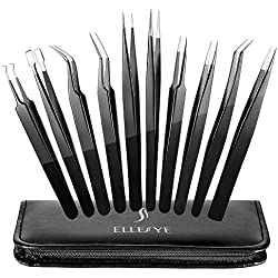 ElleSye 10-piece ESD Safe Precision Tweezers, Anti-Static Stainless Steel Tweezers Non-magnetic ESD Tweezer Set