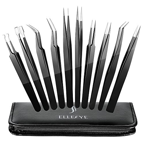 ElleSye 10-piece ESD Safe Precision Tweezers, Anti-Static Stainless Steel Tweezers Non-magnetic ESD Tweezer Set for Electronics, Jewelry, Craft, Laboratory Work, Eyebrow & Ingrown Hair Removal (Nose Head Needle)