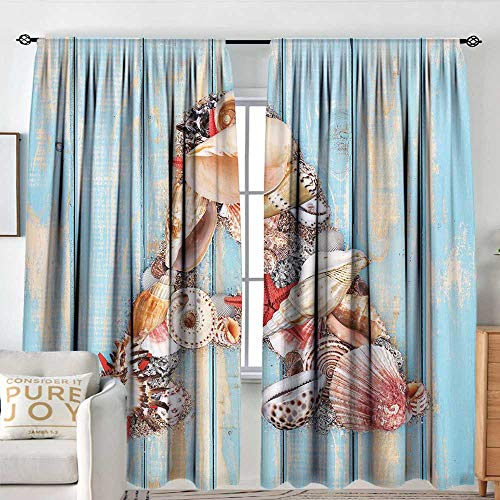- Petpany Customized Curtains Letter A,Letter A with Seashells on Pale Wooden Board Invertebrates Animal,Pale Blue Ivory Dark Coral,for Room Darkening Panels for Living Room, Bedroom 84