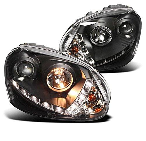 ZMAUTOPARTS VW Golf GTI Jetta Rabbit DRL LED Projector Headlights Black (HID Version) (Golf Black Housing Vw)
