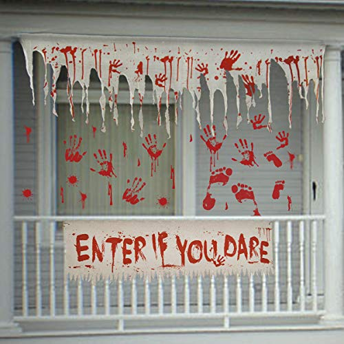 Pawliss Halloween Decorations Haunted House Props, Bloody Gauze Banners Wall Stickers Window Decals, Creepy Carnival Zombie Party Supplies, Scary Halloween Decor]()