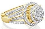 Halo Channel Diamond Engagement Ring - 10K Yellow Gold, 1.25 Carat Diamond. Real Diamond Wedding Rings for Women