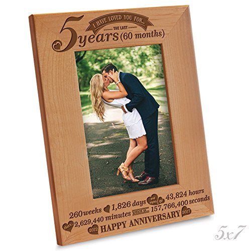 Bella Busta - 5th Anniversary - 5 Years,Months, Weeks, Days, Hours, Weeks, Minutes, Seconds- Happy Anniversary-2012-->2017- Engraved Natural Wooden Picture Frame (5