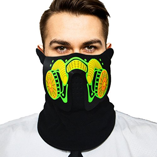 Music Led Flashing EL Panel Party Costume Mask with Sound Active for Dancing, Riding, Skating, Party and Any Festival (Oxygen (Music Festival Costumes)