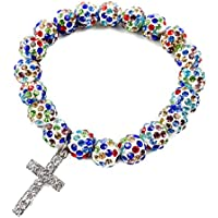 Colorful Shamballa Beaded Catholic Rosary Bracelet multi color Crystal beads and Metal Cross Stretch Handmade Bangle