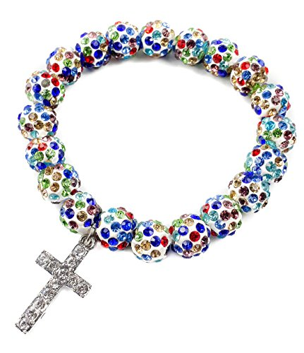 (Colorful Beads Catholic Cross Bracelet By Nazareth Store Multi Color Crystal Beaded Rosary Wrist Bangle Catholic Cross | Holy Land Stretch Jewelry)