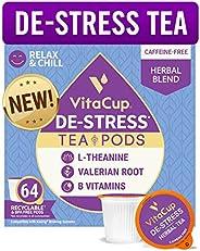 VitaCup De-Stress Herbal Tea Pods | Relax & Chill | L-Theanine, Valerian Root & Vitamins B1, B5, B6, B