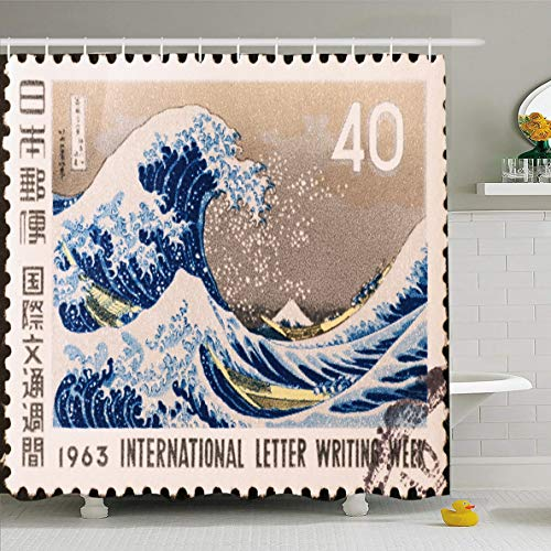- Ahawoso Shower Curtain 66x72 Inches Postal Wave Milan Italy March 19 Famous Kanagawa Nature Great Stamp Hokusai Design Waterproof Polyester Fabric Set with Hooks