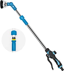 TWOZOZO Telescoping Garden Hose Nozzle 29.5-43.3 Inches, 9 Modes Adjustable Watering Wand High Pressure Gardening Watering Sprayer Wands for Watering Seedling Beds, Flowers, Lawn, Shrubs