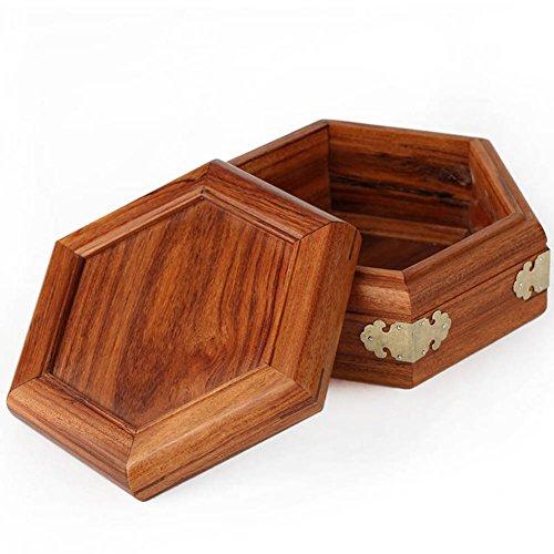 Bubinga wood jewelry box Solid wood Chinese antique jade jade box hexagonal mahogany jewelry box Storage Box ()