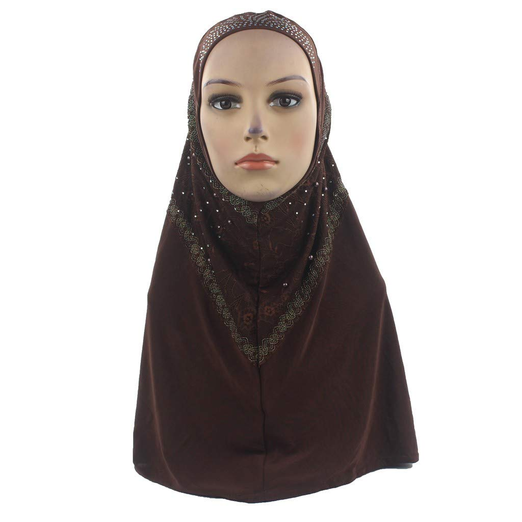 Pollyhb Muslim Women Hijab Instant Convenient Shawl Head Wear Scarf Turban Headband Coffee