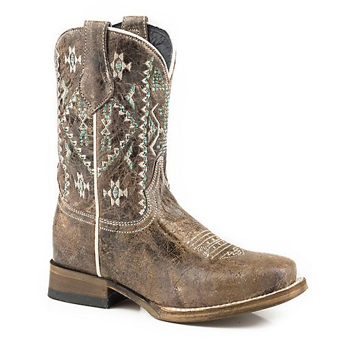 ROPER Girls' Out West Aztec Embroidered Cowgirl Boot Square Toe Brown 2