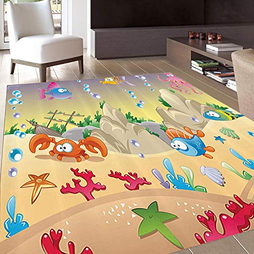 Rug,Floor Mat Rug,Underwater,Area Rug,Kids Cartoon Design Funny Sea Animals Fishes Sunken Ship Coral Reef and Bubbles,Home mat,5'8