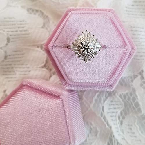 LoveInBlooms Velvet Ring Box | Elegant Hexagon Shape, Engagement Ring Box, Bridal Photo Detail Props, Wedding Photography Styling Kit, Ring Bearer Gift, Vintage Heirloom Proposal Box (Lilac Love)