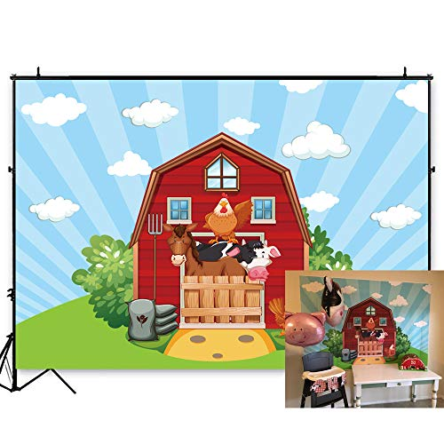 7x5ft Photography Background Red Barn Farm Birthday Backdrop Livestock Grass Backdrops Photo Booth Shoot Blue Sky Props Warehouse Polyester Fabric Birthday Party Decorations W-811]()