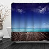 ALFALFA Home Bathroom Decorative Polyester Fabric Ocean Beach Theme Shower Curtain With Hooks, Waterproof, Mildew Resistant 60'' W x 72'' H (150CM x 180CM) - Beach Wood Block