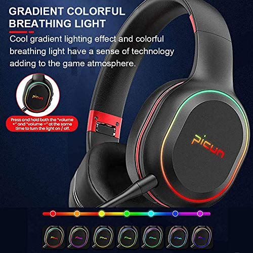 SLuB Bluetooth Headphones Over Ear Game Wireless/Wired/TF with Mic 60H Play Time Hi-Fi Deep Bass HD Stereo Sports Active Noise Cancelling Foldable Headset for Cell Phone/PC