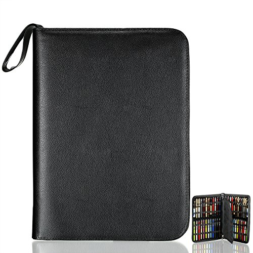 - Fountain Roller Pen Case Holder Black PU Leather Bag for 48 Pens Collection