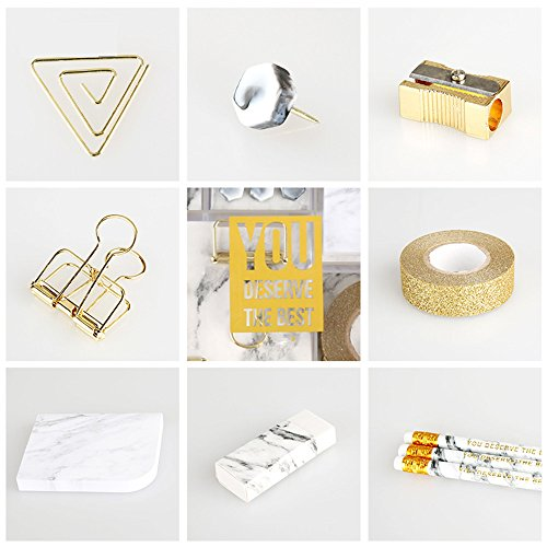 Marble White Stationery Gift Kit School Office Supplies Stationery Sets of 24 Gift Items Office Products (Marble White) by MEI YI TIAN (Image #2)