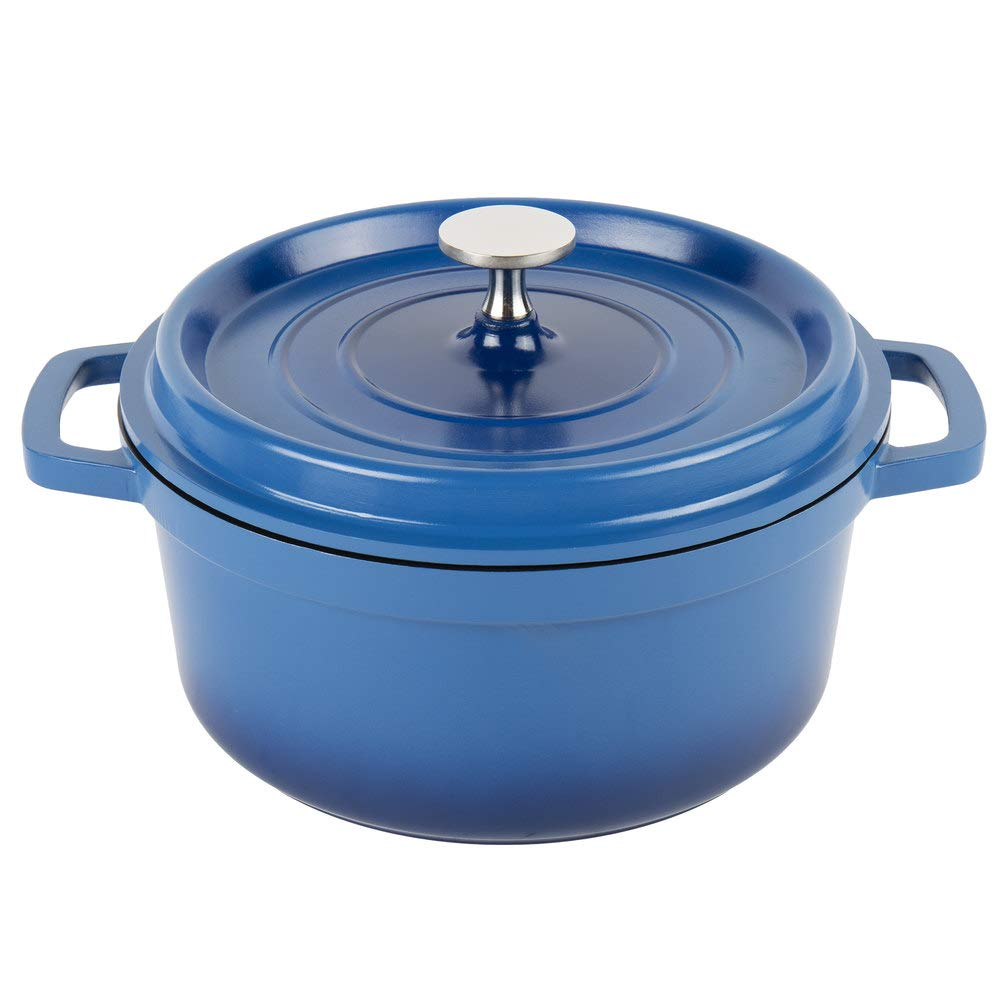 G.E.T. Enterprises Blue 2.5 Quart Round Dutch Oven, Cast Aluminum with Lid and Handles Heiss CA-011-CB/BK