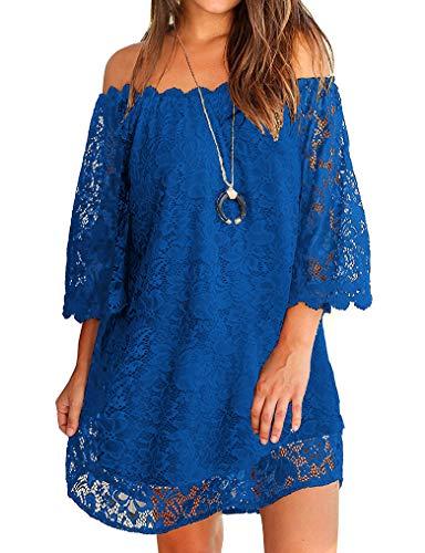 OURS Womens Off Shoulder Sundresses Floral Lace Shift Short Dress Royal Blue L