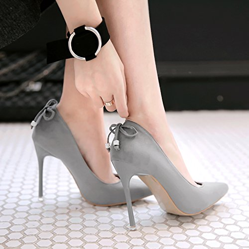 Ultra with with shoes career single nightclubs a 10 versatile satin and shoe gray 39 of Tip Qiqi light women with Xue thin EfXZqq