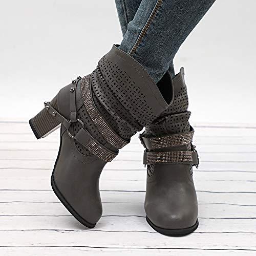 De Ahueca Boots Invierno Gris Plataforma Otoño Tacón Talón Mitad Zapatos Hacia Botas Zarlle Interiores Botines Zapatillas Fuera Moda Señoras Mujer Hx65q7wX