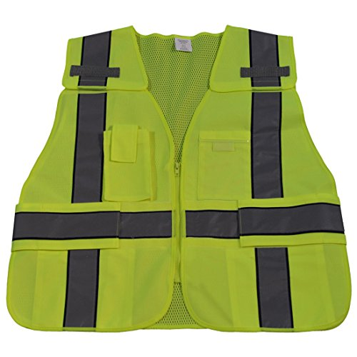(Petra Roc LV2-BPSV-REG 107-2015 Class 2 Solid Public Safety Vest with Front & Mesh Back, Small/X-Large, Lime/Navy)