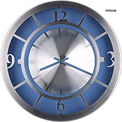 12-inch New Designed Modern AL. Metallic Colorful Wall Clock Quiet Large Decorative Living Room Clock (WM0338 Sky Blue)