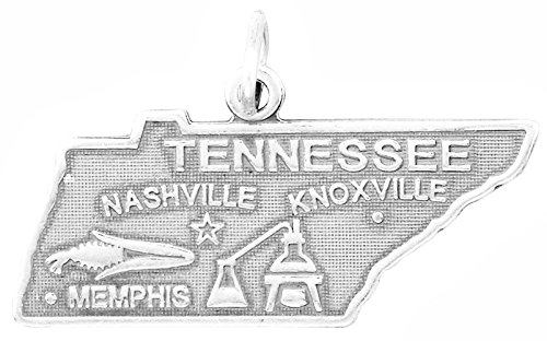 Sterling Silver Tennessee State Charm - Oxidized Sterling Silver Charm, State of Tennessee, 1 inch