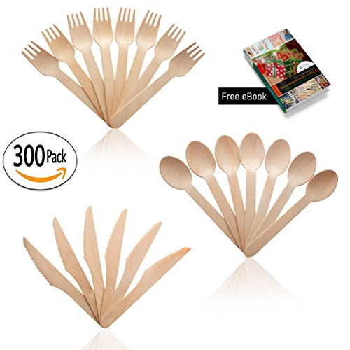 Wooden Disposable Utensils Set (300 Pieces) 100 Spoons 100 Forks & 100 Knives | For Weddings Parties Camping Picnics BBQ Birthdays Beach | Eco Friendly Biodegradable Compostable Cutlery Bulk Set (Halloween Weddings Ideas)