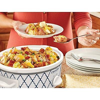 Crock-Pot Casserole Crock Mini Oval Slow Cooker, 2.5-Quart, Red, Blue White/ Trellis