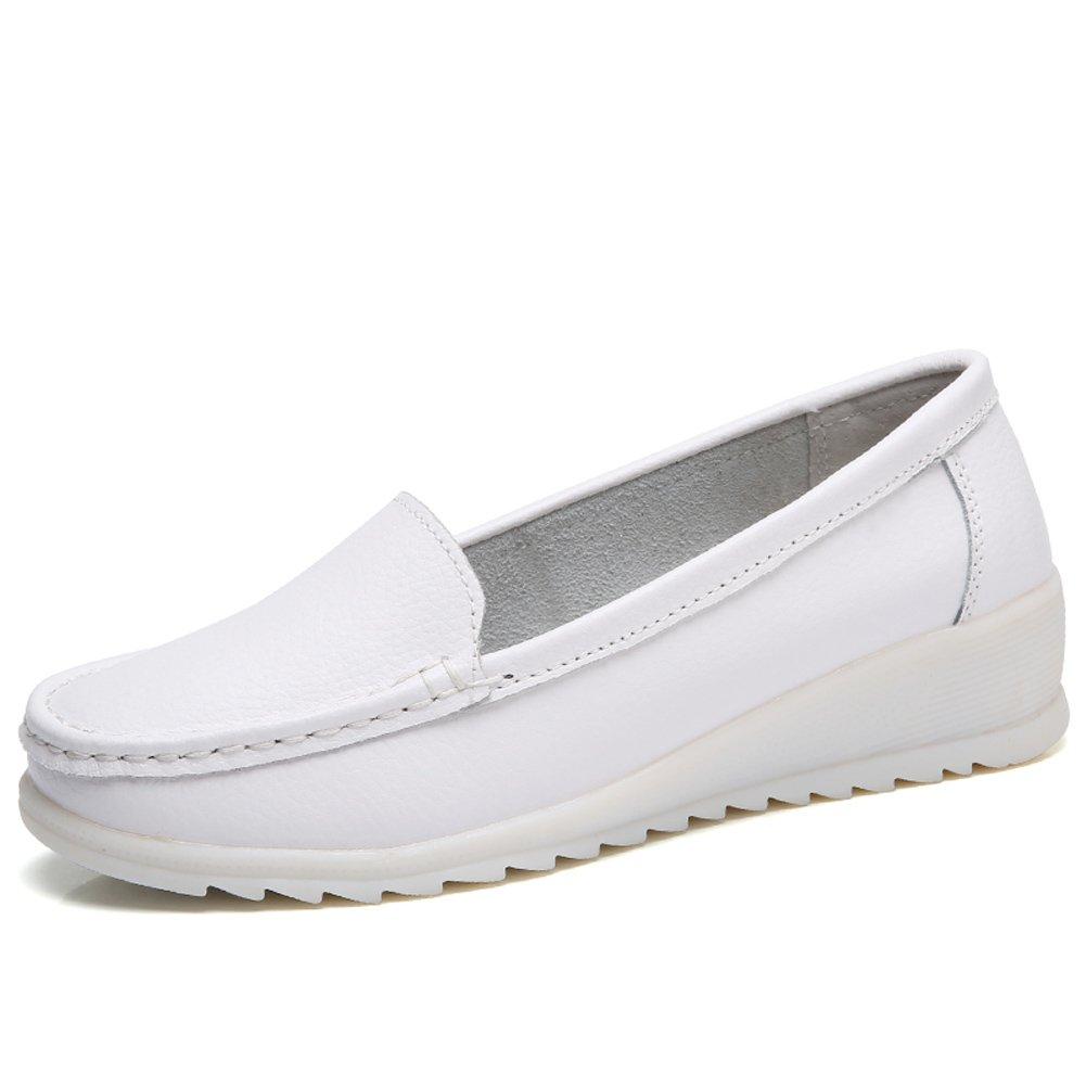 ZYEN-XZH6616baise39 Women's All White Nursing Shoes Comfortable Slip On Nurse Work Wedge Leather Loafers White 7.5 B(M) US