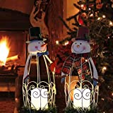 Juegoal Christmas Snowman LED Candle Lantern Lights Battery Operated Christmas Holiday Party Decorations, 2 Pack