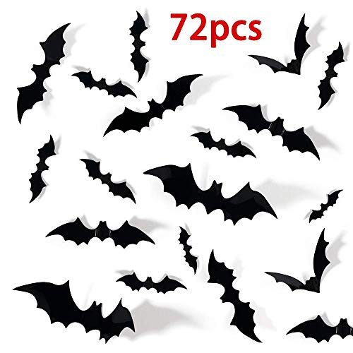 Diy Halloween Party Decor (72PCS Halloween 3D Bats Decoration for Home 4 Different Sizes Realistic PVC Scary Bat Wall Decal Sticker Decor DIY Window Decal Bathroom Indoor Halloween Party Supplies Halloween)