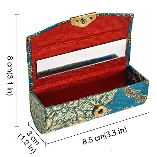 Lipstick Case, 12pcs Silky Satin Fabric Lipstick Makeup Storage Box with Mirror for All Women's Lipstick Holder