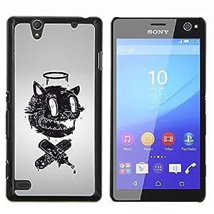 YiPhone /// Prima de resorte delgada de la cubierta del caso de Shell Armor - Divertido retro abstracto Cara - Sony Xperia C4